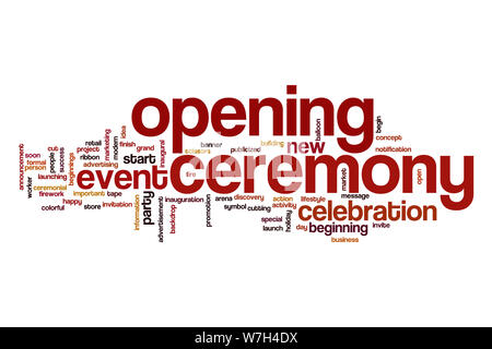 Opening ceremony word cloud - Stock Photo