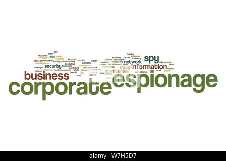Corporate espionage word cloud concept - Stock Photo
