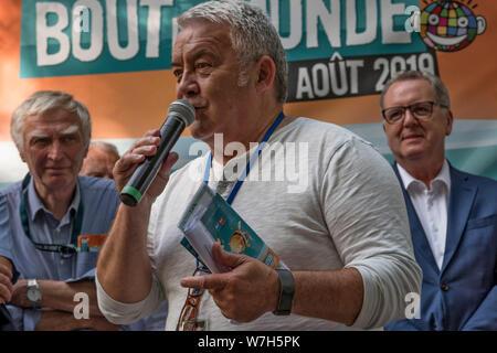 Jacques Guérin, directeur du festival, Festival Bout du Monde 2019 à Crozon Brittany - Stock Photo