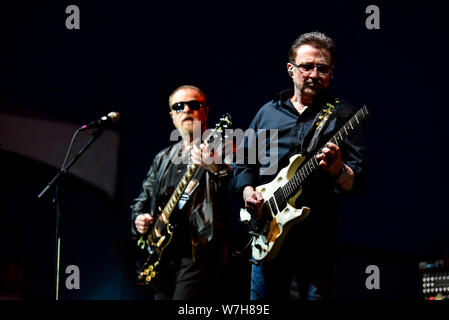 July 4, 2019, Moapa Nevada, Buck Dharma and Eric Bloom of Blue Oyster Cult on stage at the Moapa Event Center In Moapa, Nevada. - Stock Photo