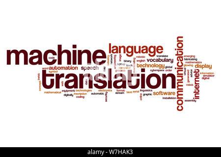 Machine translation word cloud concept - Stock Photo