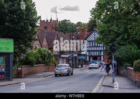 A view of the centre of the picturesque village of Pangbourne in West Berkshre, UK which sits on The River Thames. - Stock Photo