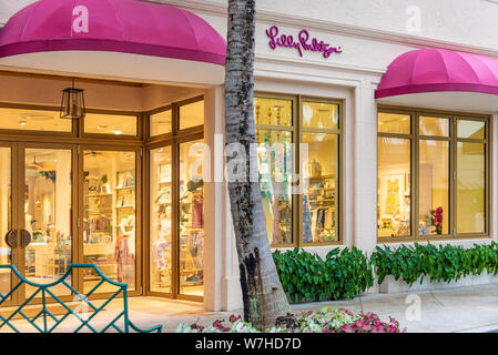 Lilly Pulitzer store on Worth Avenue in Palm Beach offers luxury resort wear for women. (USA) - Stock Photo