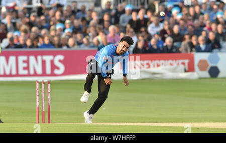 Hove Sussex UK 6th August 2019 - Rashid Khan bowling for Sussex Sharks during the Vitality T20 Blast cricket match between Sussex Sharks and Glamorgan at the 1st Central County ground in Hove Credit : Simon Dack / Alamy Live News - Stock Photo