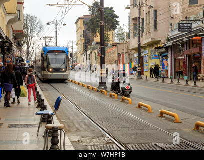 Istanbul, Turkey - March 21, 2019: Hudavendigar street in Istanbul. Historic district of Istanbul, street that leeds Gulhane Park and is a popular are - Stock Photo
