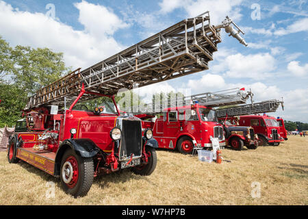 Classic fire engines on display at the Odiham Fire Show, 2019, in Hampshire, UK - Stock Photo