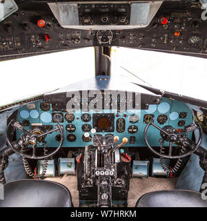 Istanbul, Turkey, 23 March 2019: Cockpit of Douglas DC-3 at Rahmi M. Koc Museum on February 11, 2012 Istanbul, Turkey. Over 16,000 Douglas DC-3 was pr Stock Photo