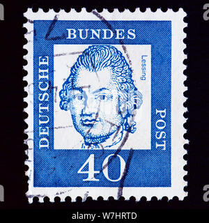 West Germany Postage Stamp - Gotthold Ephraim Lessing (1729-1781), poet and philosopher - Stock Photo