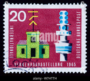 West Germany Postage Stamp - Traffic exhibition - Stock Photo