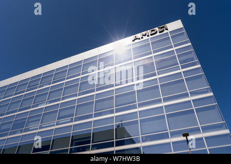 July 30, 2019 Santa Clara / CA / USA - AMD offices located in Silicon Valley, south San Francisco bay area - Stock Photo