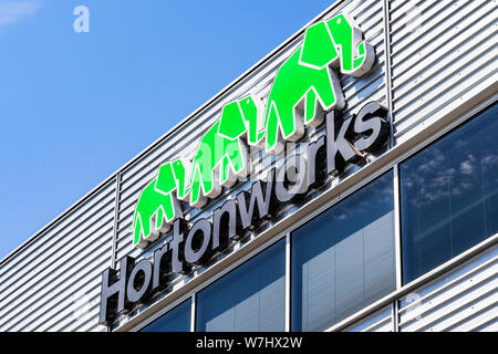 July 30, 2019 Santa Clara / CA / USA - HortonWorks sign at their Headquarters in Silicon Valley; Hortonworks completed its merger with Cloudera in Jan - Stock Photo