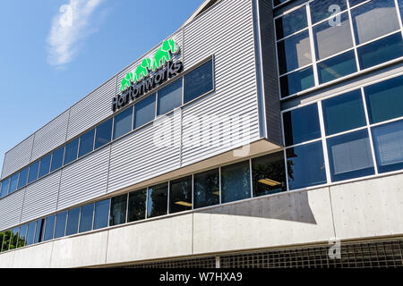 July 30, 2019 Santa Clara / CA / USA - HortonWorks Headquarters in Silicon Valley; Hortonworks completed its merger with Cloudera in January 2019 - Stock Photo