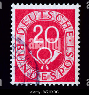 West Germany Postage Stamp - Digits with Posthorn