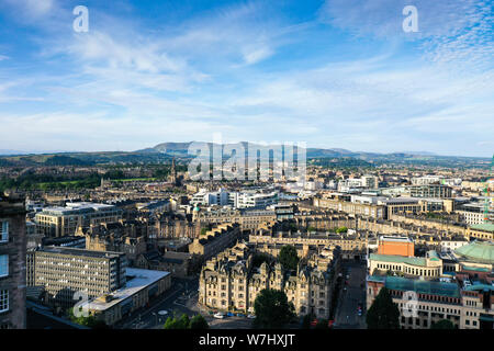 Aerial drone view of Edinburgh city centre - Stock Photo