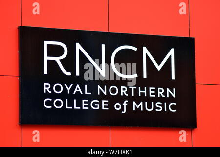 Sign on the outer wall of the Royal Northern College of Music in Manchester, uk - Stock Photo