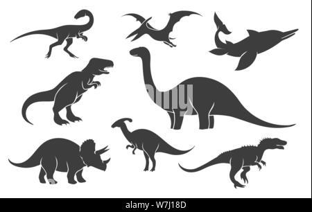 Dinoussaur silhouette set. Mesozoic raptor silhouettes, ancient rex pangolin vector black illustrations - Stock Photo