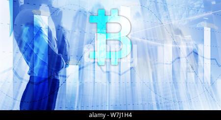 Bitcoin and diagram. Crypto Icon on futuristic background. Trading exchange stock market investment. - Stock Photo