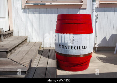 Ahlbeck, Germany - August 3, 2019: Detail of restaurant on the Ahlbeck Pier. It is the oldest pier in Germany.The pier stretches from the Imperial Bea - Stock Photo