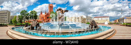 Panoramic view of Independence square at sunny summer day. Minsk, Belarus - Stock Photo