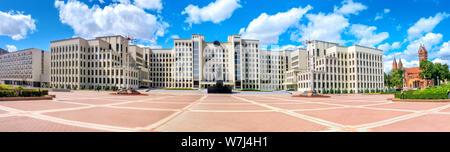 Panoramic view of Government House with monument Lenin on Independence square in Minsk, Belarus - Stock Photo