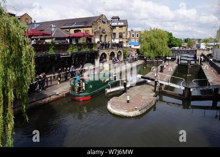 Canal boats at Camden Lock - Stock Photo