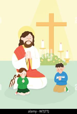 Concept of summer bible school or camp vector illustration 008 - Stock Photo