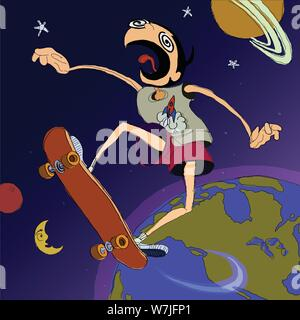 Graphic, loose, animated illustration of a man on a skateboard jumping from the earth all the way into space - Stock Photo