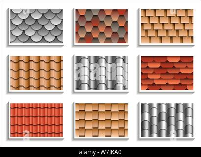 Set of seamless roof tiles textures. 3D patterns of rooftop materials - Stock Photo