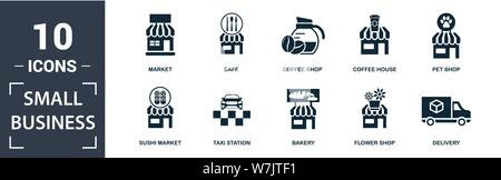Small Business icon set. Contain filled flat market, pet shop, delivery, ice cream shop, book shop, coffee shop, cafe , pizzeria icons. Editable forma - Stock Photo