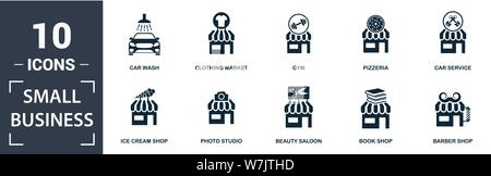 Small Business icon set. Contain filled flat clothing market, car wash, bakery, beauty saloon, car service, coffee house icons. Editable format. - Stock Photo