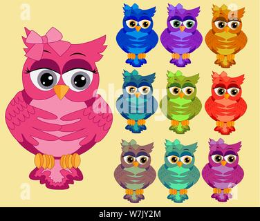 A large set of ten multi-colored bright cartoonish, cute owls with big eyes and bows behind the ear - Stock Photo