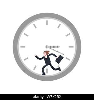 Man runs inside clock. Run away from time - Stock Photo