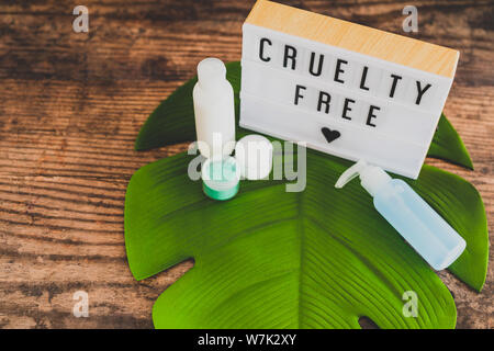 cruelty free message on lightbox with skincare products, concept of vegan products and ethics - Stock Photo