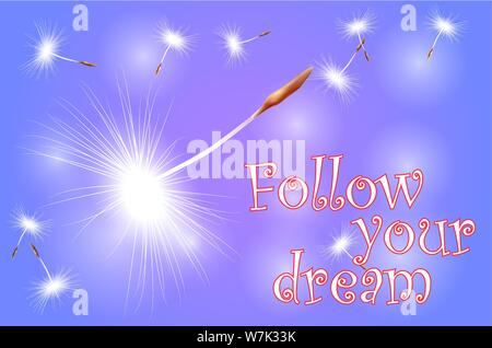 inscription follow your dream on an abstract blue background with flying seeds, dandelion umbrellas - Stock Photo