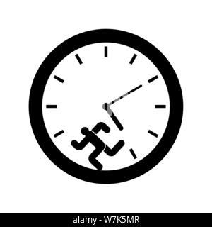 Man runs inside clock. Run away from time - Stock Photo