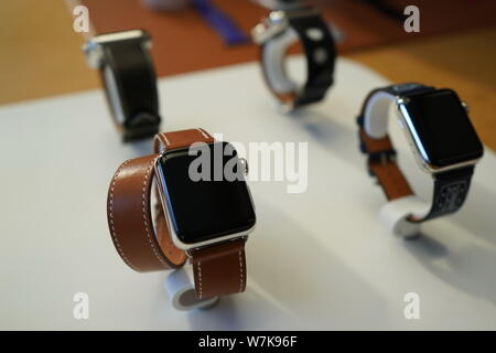View of Apple Watch Series 3 on display at the Apple Store in the Sanlitun shopping area in Beijing, China, 22 September 2017.   Apple Inc's launch of - Stock Photo