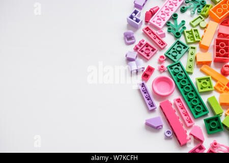 Saint-Petersburg, russia,July, 9 2019. Lego cubes. Educational children's toys for little kids. Colorful plastic blocks for building isolated on white - Stock Photo