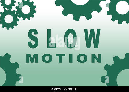 SLOW MOTION sign concept illustration with green gear wheel figures on green gradient background - Stock Photo