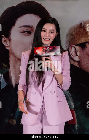 Chinese actress Fan Bingbing attends a fan meeting for her new movie 'Sky Hunter' in Hefei city, east China's Anhui province, 23 September 2017. - Stock Photo