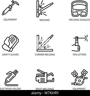 Welding tools icon set. Outline set of 9 welding tools vector icons for web design isolated on white background - Stock Photo