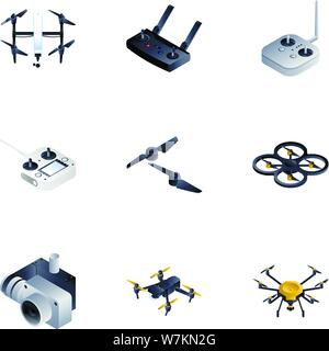 Drone equipment icon set. Isometric set of 9 drone equipment vector icons for web design isolated on white background - Stock Photo