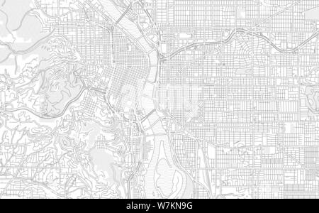 Portland, Oregon, USA, bright outlined vector map with bigger and minor roads and steets created for infographic backgrounds. - Stock Photo
