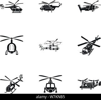 Helicopter transport icon set. Simple set of 9 helicopter transport vector icons for web design isolated on white background - Stock Photo