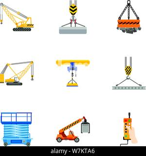 Lifting platform icon set. Flat set of 9 lifting platform vector icons for web design isolated on white background - Stock Photo