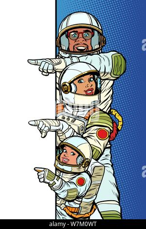 multi race family astronauts mom dad and son. Point to copy space poster. Pop art retro vector Illustrator vintage kitsch drawing - Stock Photo