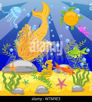 background with an underwater world in a children's style. A mermaid in the sea. Wooden chest with gold on the bottom of the sea. Seabed in a cartoon - Stock Photo