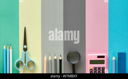 Back to school, concept flat lay background in pastel colors. Stationary items on paper background, banner composition, panoramic image with text spac - Stock Photo