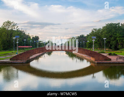 A brick bridge over some water