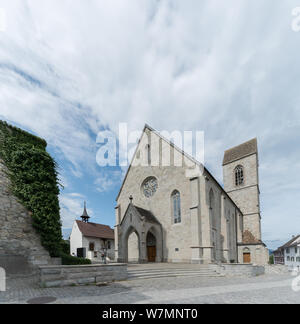Rapperswil, SG / Switzerland - 3. August 2019: view of the church of Sankt Johann in Rapperswil - Stock Photo