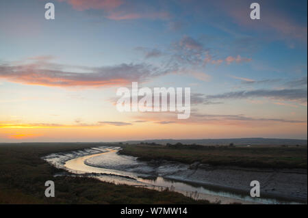 Landscape view of saltmarshes from West Canvey Marshes RSPB reserve, Canvey Island, Essex, England, UK, November. - Stock Photo